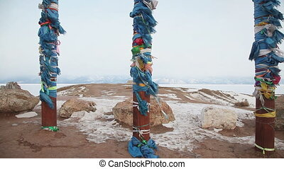 Shaman pillar on Baikal coastline - Shoot with slider using...
