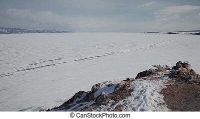 Coastline of Olkhon island on Baikal lake