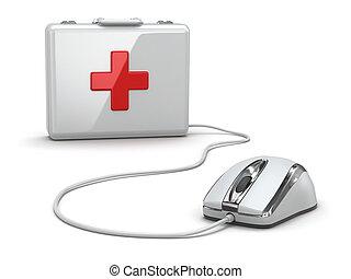 Online, primeiro, ajuda, mose, médico, equipamento