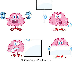 Brain Cartoon Mascot Collection 6 - Happy Brain Cartoon...