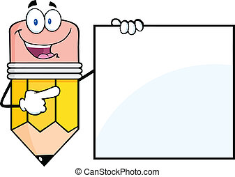 Pencil Showing A Blank Sign - Happy Pencil Cartoon Character...