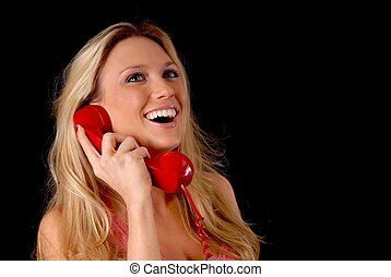 Lovely Blond Girl on telephone - Isolated lovely and sexy...