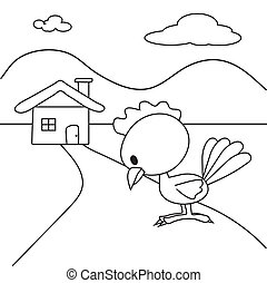 Coloring book of the chicken