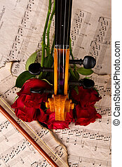 Violin on old sheet music and rose closeup