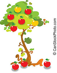 Apple tree - Vector illustration of apple tree