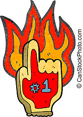 retro cartoon flaming foam sports hand