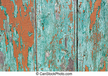 Wooden green painted fence as grunge background