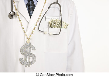 Doctor with cash.