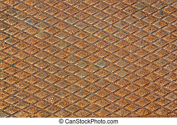 Rusty metal diamond plate as background - Rusty used metal...