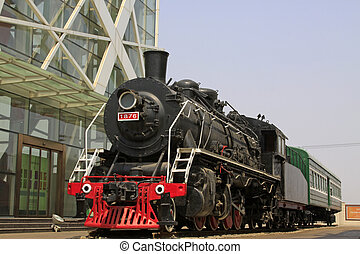head of steam locomotive, closeup of photo