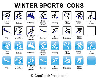 winter sports icons - set of winter sports icons