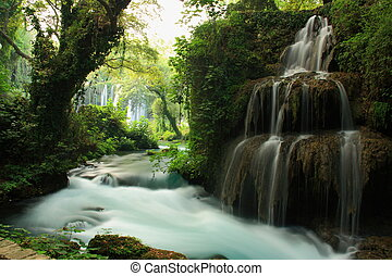 stream and waterfall landscape with big tree on it -...