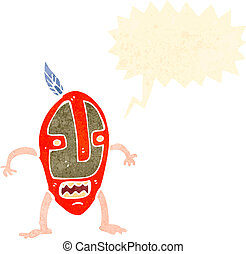 retro cartoon tribal mask man shouting