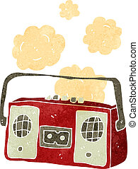 retro cartoon dusty old tape player