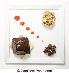 Gourmet dessert plate.
