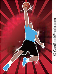 basketball player - the man playing basketball and jumping