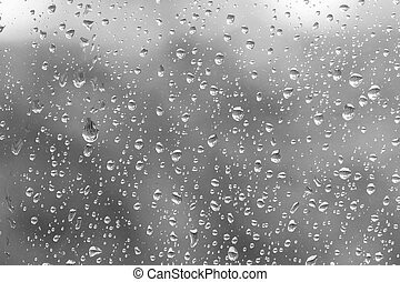 Waterdrops on grey as background