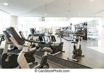 Gym - An interior shot of a club gym with all the execrise...