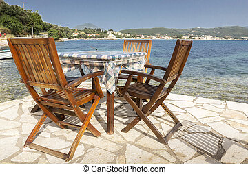 Table and chairs in Greece