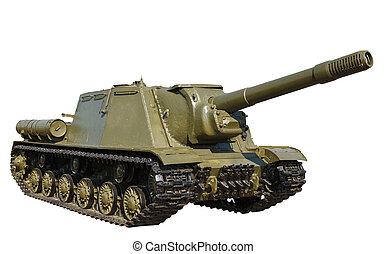 Russian self-propelled gun ISU152 isolated - Russian...