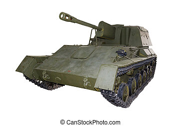 Russian self-propelled gun SU76 isolated - Russian...