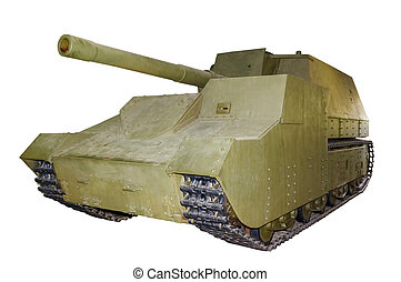 Russian self-propelled gun SU14 isolated - Russian...