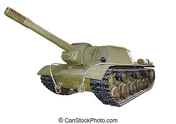 Russian self-propelled gun SU152 isolated - Russian...