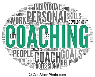 Coaching concept in sphere tag cloud
