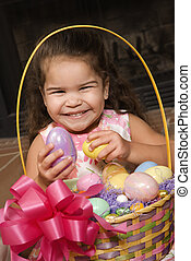 Girl with Easter basket - Hispanic girl holding egg from...