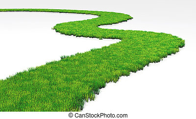 grassy path - a path made of lawn that grows in a white...