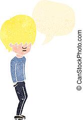 retro cartoon blond boy speaking