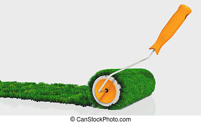 paint with a grassy paint roller - a closeup of a paint...