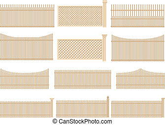 Wooden fence with volume, shadows - Set of vector wooden...