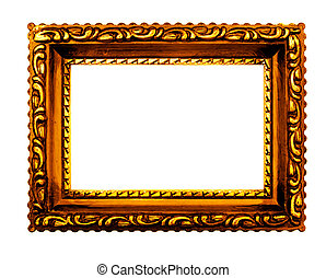Antique gold picture frame, white background