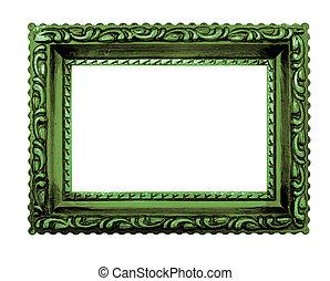 andrajoso, elegancia, verde, imagen, marco, blanco, Plano de...