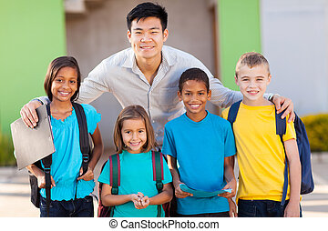 elementary school students and teacher outdoors - four...