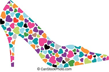 Shoe with hearts