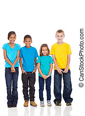 group of children in bright t-shirt isolate on white...