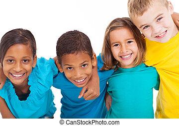 grupo, multiracial, niños
