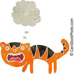 retro cartoon tiger with thought bubble