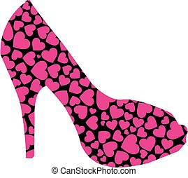 stiletto with pink hearts