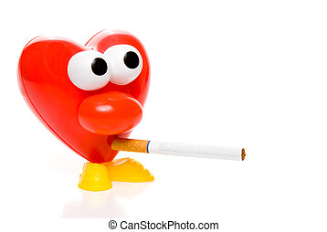 Smoking Heart - A red heart smoking a tobacco cigarette
