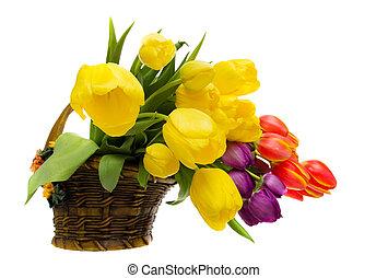 Flower arrangement - Tulip flower arrangement in a basket