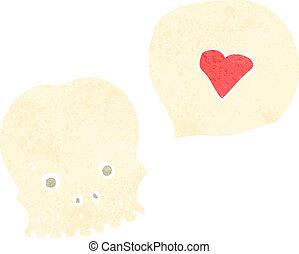 retro cartoon skull with love heart