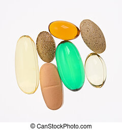 Vitamin supplements - Close up of supplement vitamin pills...
