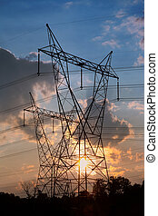 High Voltage Tower - High voltage electrical towers with...