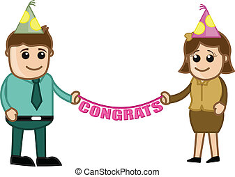 Congrats - Business Characters - Drawing Art of Young...