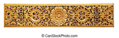 thai fine art wood craft in public temple isolated white