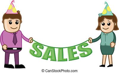 Cartoon Poeple Holding Sale Banner - Drawing Art of Cartoon...
