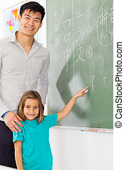 preschool girl pointing Chinese language answer on chalkboard